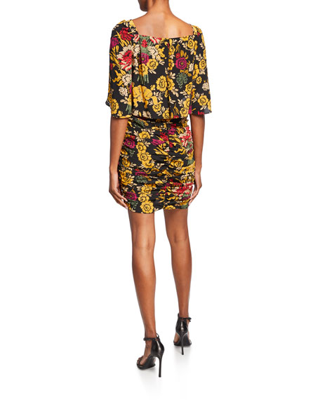 Kobi Halperin Leandra Floral High-Neck Shirred Silk Dress