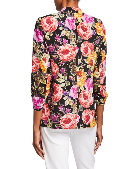 Kobi Halperin Dana Floral One-Button 3/4-Sleeve Silk Jacket