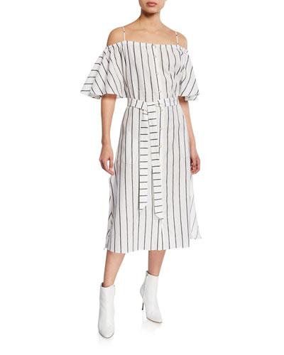 Tulum Striped Cold-Shoulder Midi Dress