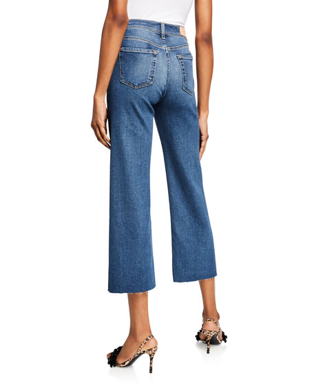 7 For All Mankind Alexa Cropped Wide-Leg Raw-Edge Jeans