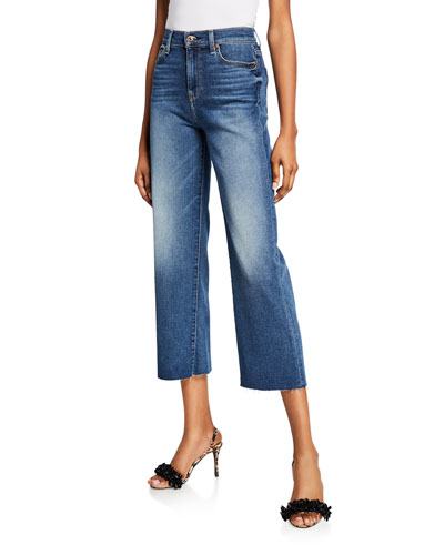 Alexa Cropped Wide-Leg Raw-Edge Jeans