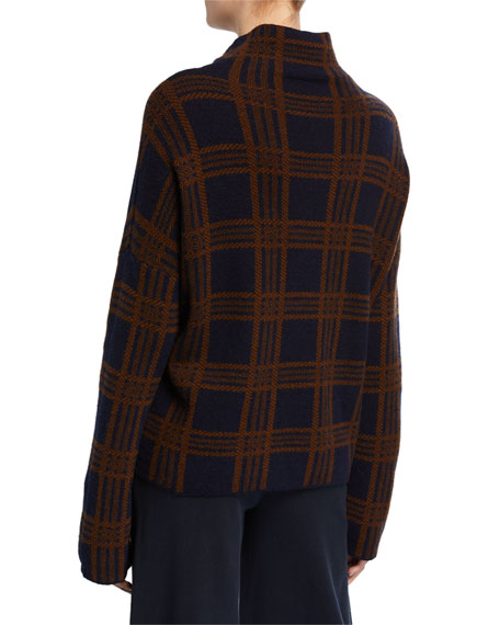 Vince Tartan Plaid Funnel-Neck Long-Sleeve Wool/Cashmere Top