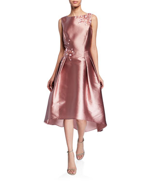 9256efbbfd Rickie Freeman for Teri Jon Sleeveless High-Low Gazar Dress with Beaded Trim