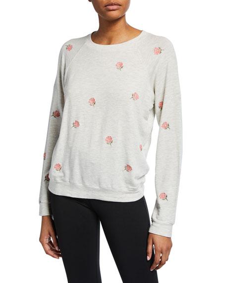 Monrow Rose Embroidered Raglan-Sleeve Vintage Sweatshirt