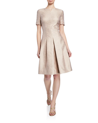 Metallic Jacquard Short-Sleeve Dress with Crystal Trim