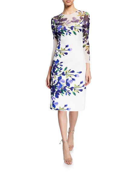 Rickie Freeman For Teri Jon Dresses BORDER-PRINT MESH-YOKE 3/4-SLEEVE SCUBA DRESS