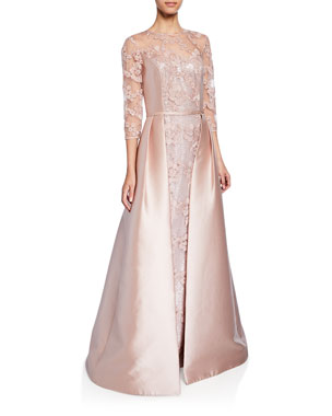 e83150889d Rickie Freeman for Teri Jon Jewel-Neck 3 4-Sleeve Lace Gown w