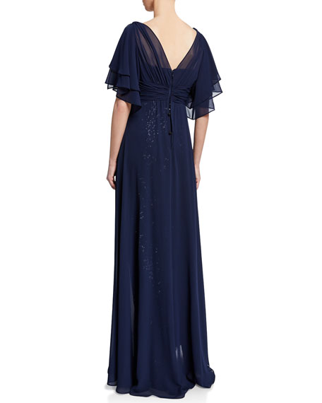 Rickie Freeman for Teri Jon Beaded Lace Gazar Flutter-Sleeve Gown w/ Asymmetric Chiffon Overlay