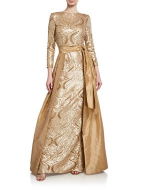 30f303ca92e Rickie Freeman for Teri Jon Long-Sleeve Sequin Gown w  Taffeta Overlay