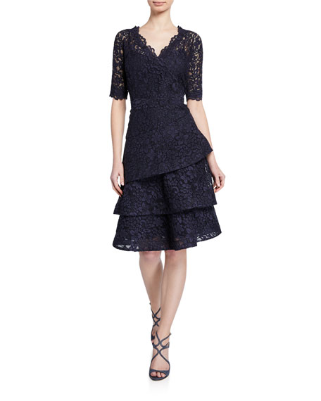 Rickie Freeman For Teri Jon Dresses ELBOW-SLEEVE TIERED LACE DRESS