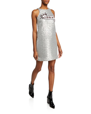 40597b5459 Aidan by Aidan Mattox Sequin Applique Sleeveless Mini Dress