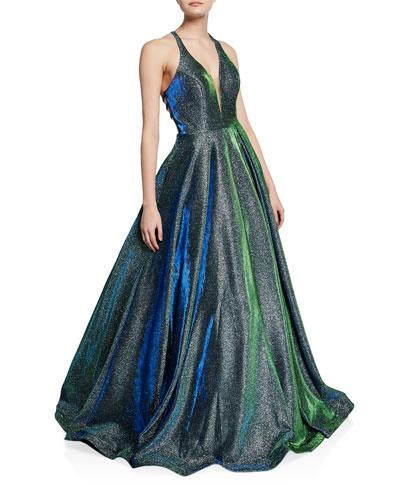 Shimmery V-Neck Sleeveless Cross-Back Ball Gown