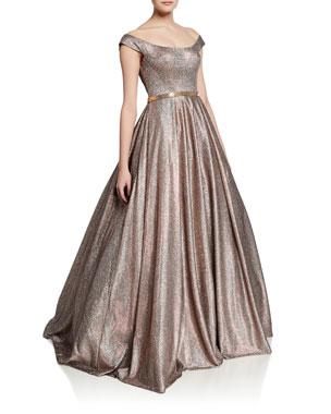 e24e8d1e14 Jovani Metallic Off-the-Shoulder Short-Sleeve Ball Gown