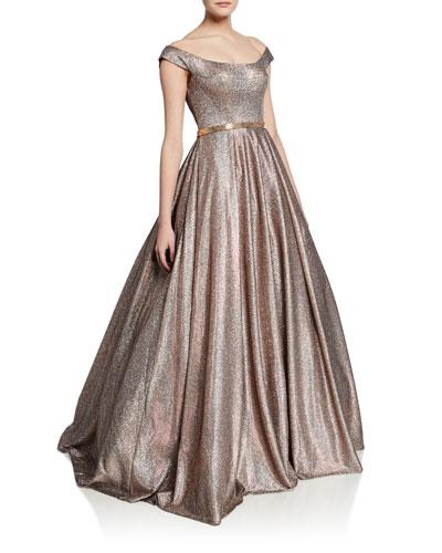Metallic Off-the-Shoulder Short-Sleeve Ball Gown
