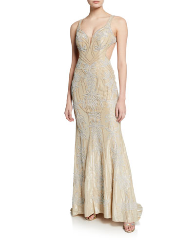 Embellished V-Neck Sleeveless Gown w/ Open Middle-Back