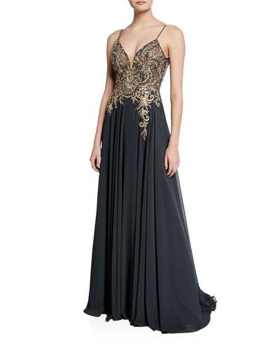 V-Neck Spaghetti-Strap Embellished-Bodice Flowy Gown