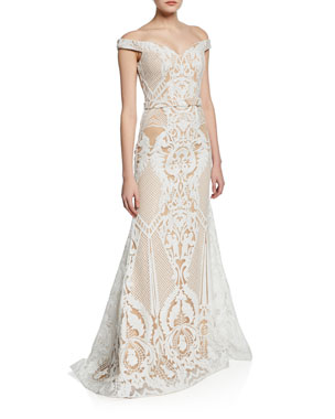 ... Short-Sleeve Ball Gown.  495 · Jovani Embellished Off-the-Shoulder  Fit- -Flare Gown d7f46e7c8303