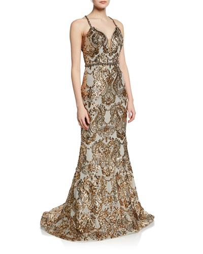 Sequined V-Neck Cross-Back Gown