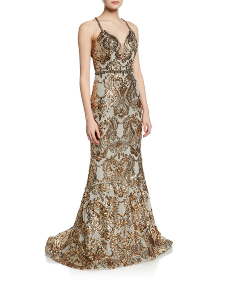 Jovani Tops SEQUINED V-NECK CROSS-BACK GOWN
