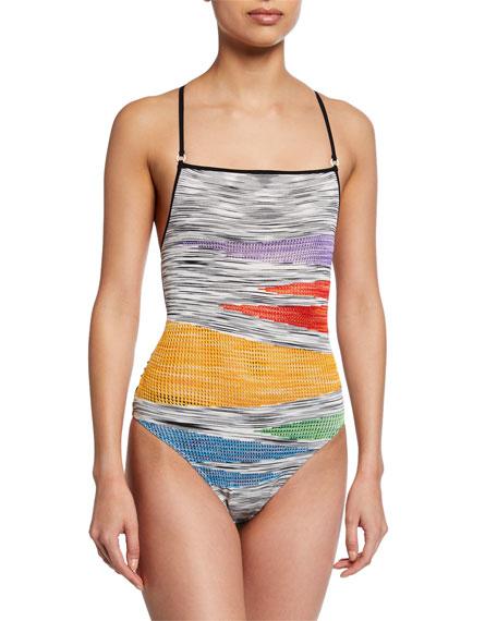 Missoni Mare Square-Neck Knit Tie-Back One-Piece Swimsuit