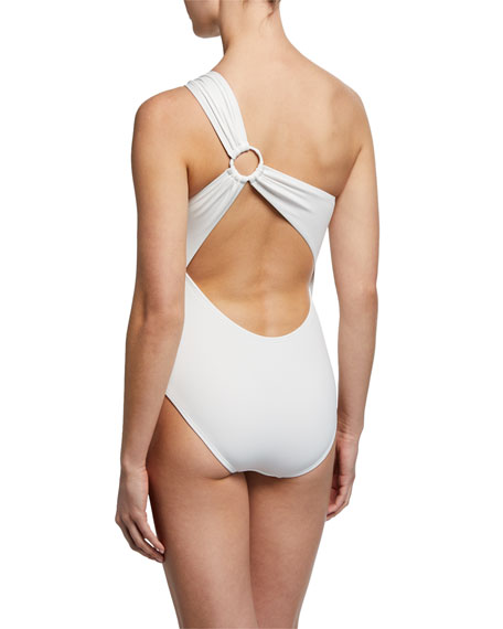 Carmen Marc Valvo Strappy One-Shoulder One-Piece Swimsuit