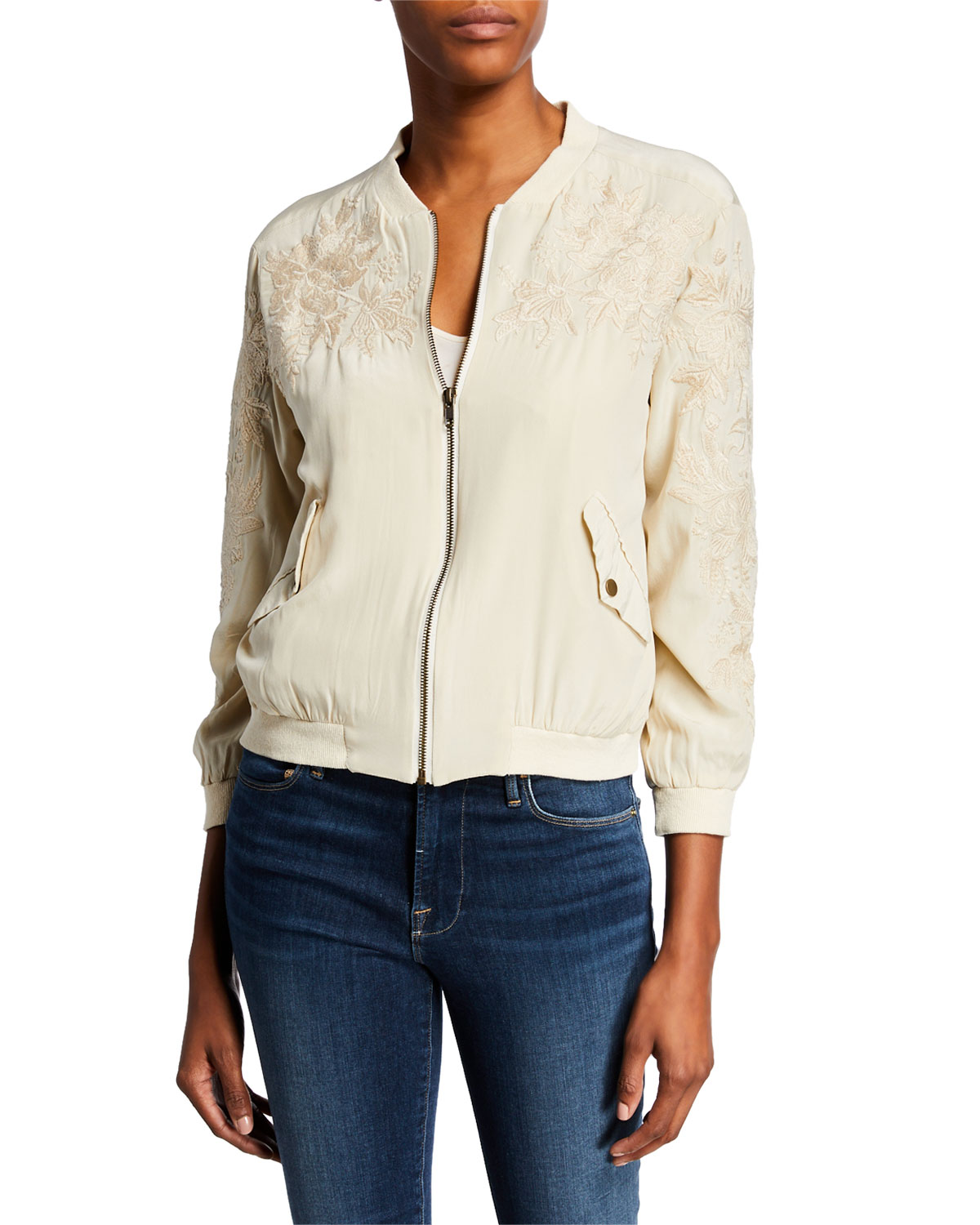 6fff40919bf Johnny Was Tyrell Embroidered Zip-Front Silk Bomber Jacket | Neiman Marcus