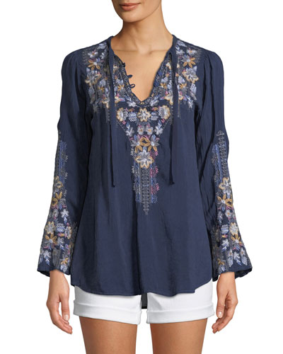 Tanya Embroidered Georgette Blouse  Petite