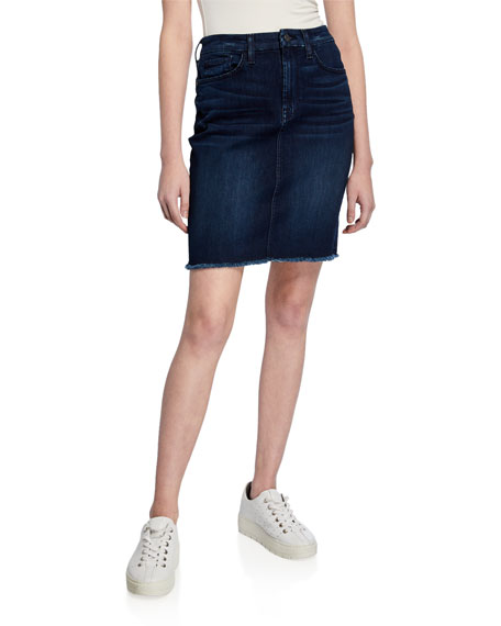 Jen7 by 7 for All Mankind Denim Pencil Skirt w/ Frayed Hem
