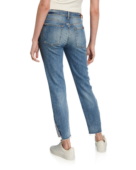 7 For All Mankind Mid-Rise Ankle Skinny Crop with Striped Inset