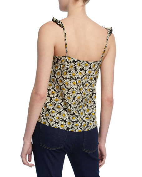 7 For All Mankind Floral-Print Scoop-Neck Mini Ruffle-Strap Tank