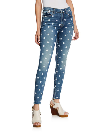 7 For All Mankind High-Waist Ankle Skinny Polka Dot Jeans