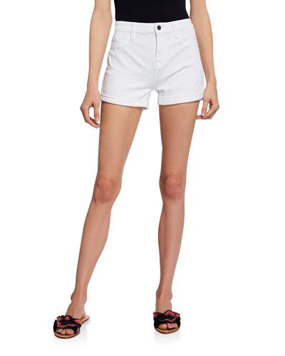 Mid-Rise Roll Denim Shorts