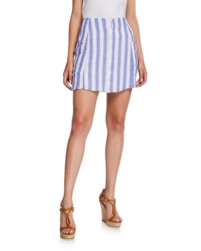 Willow Striped Linen Short Skirt
