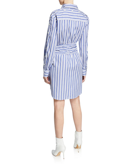 Derek Lam 10 Crosby Striped Long-Sleeve Tie-Waist Shirtdress