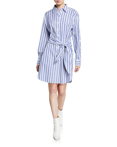 Striped Long-Sleeve Tie-Waist Shirtdress