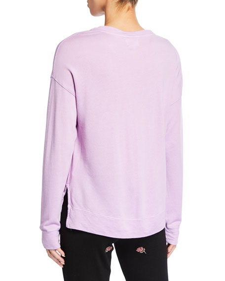 Image 2 of 2: High-Low Graphic Crewneck Top