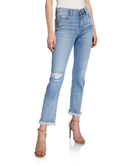 FRAME Le High Straight Micro Shred Jeans with Ripped Knee