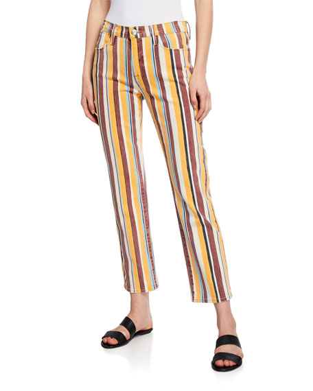 FRAME Le High Straight Painterly Stripe Jeans