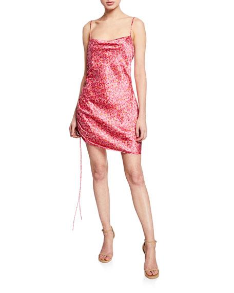 cinq a sept Astrid Ditsy Satin Cocktail Dress