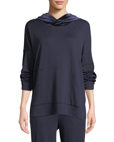 Eileen Fisher Velvet-Trim Hooded Terry Pullover Sweatshirt