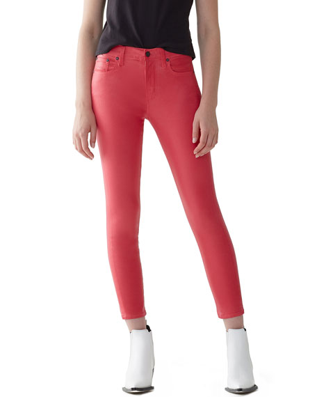 Image 1 of 3: AGOLDE Sophie High-Rise Skinny Cropped Leatherette Jeans