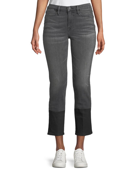 FRAME Le High Straight-Leg Cropped Jeans w/ Coated Hem