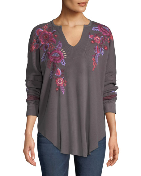 Johnny Was Plus Size Marcella V-Neck Thermal Top