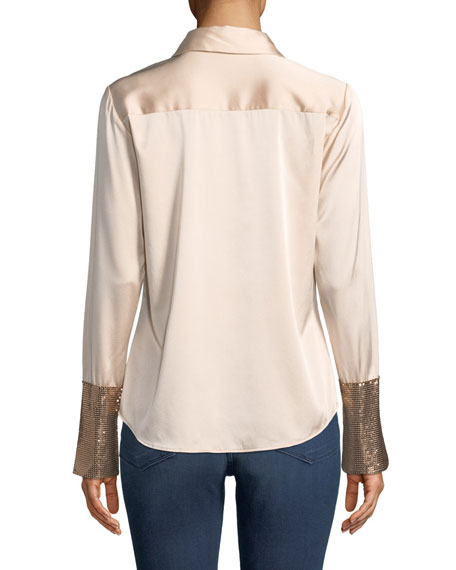 Image 2 of 4: Talia Silk Button-Down Top with Metallic Cuffs