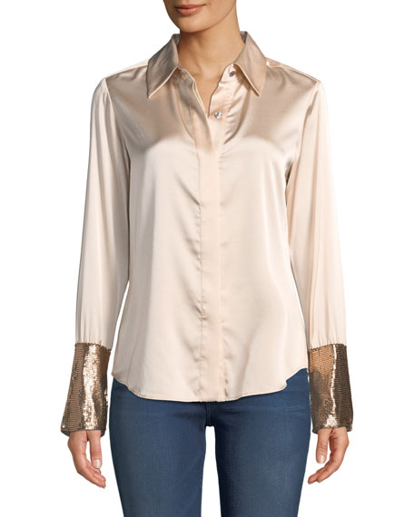 Image 3 of 4: Talia Silk Button-Down Top with Metallic Cuffs