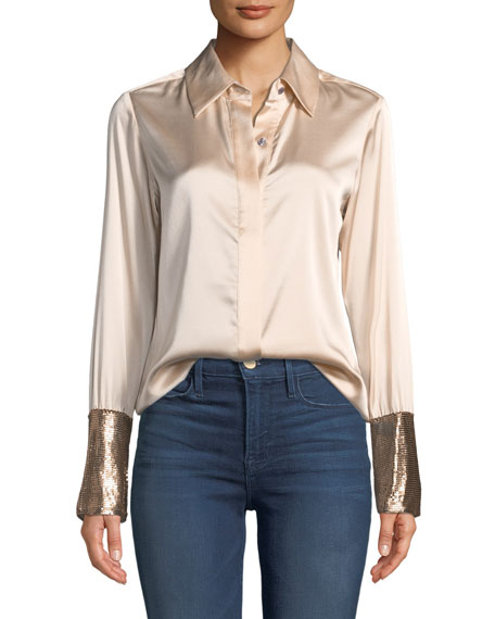 Image 1 of 4: Talia Silk Button-Down Top with Metallic Cuffs