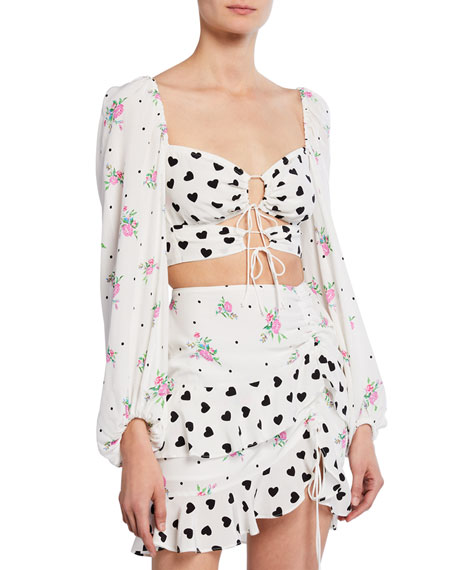 For Love & Lemons Lucia Printed Lace-Up Crop Top