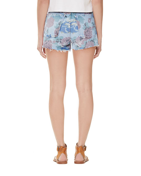 Citizens of Humanity Kristen Floral-Print High-Rise Light-Wash Denim Shorts