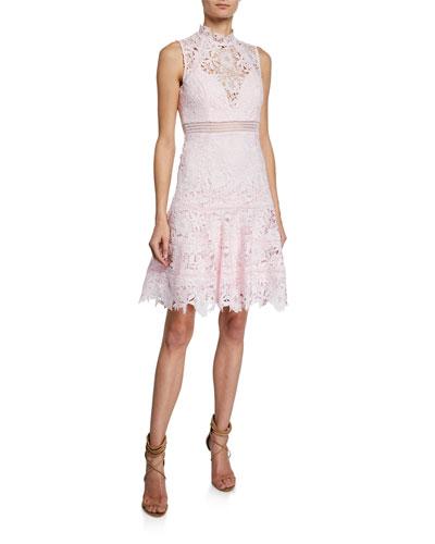 Elise Mock-Neck Sleeveless Lace Dress