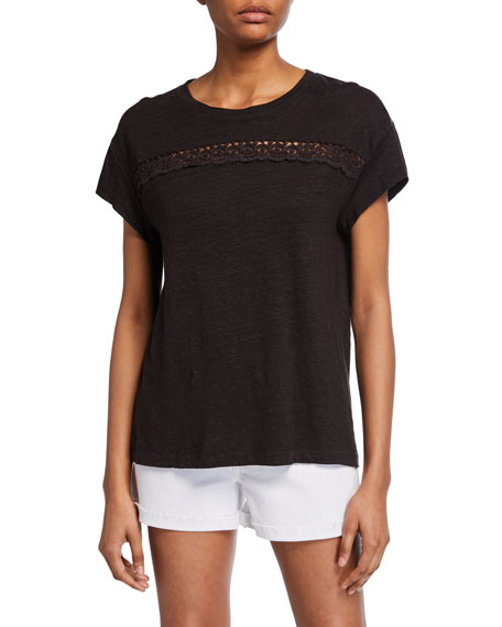PAIGE Payson Short-Sleeve Linen Tee w/ Lace Insets